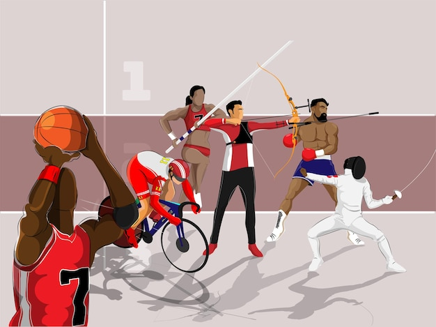 Athlétisme de diverses disciplines sportives sur fond marron pour le concept de championnat.