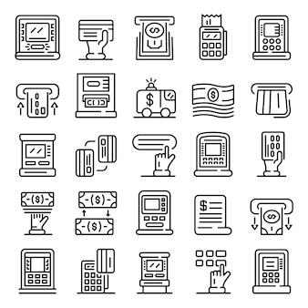 Atm machine icons set, style de contour