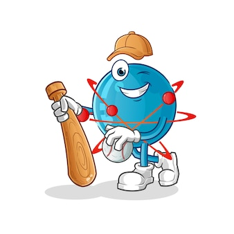 Atom jouant au baseball mascotte