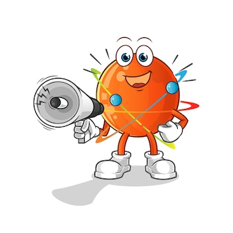 Atom tenant des haut-parleurs à main. personnage de dessin animé