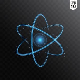 Atome avec effet de lumière bleue