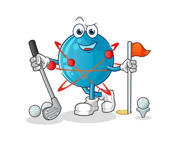 Atome jouant au golf illustration