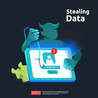 Attaque de phishing par mot de passe. le vol de données personnelles. illustration de concept de sécurité internet