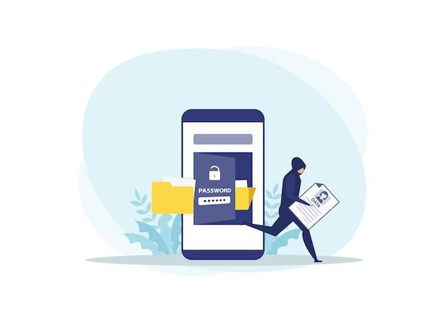 Attaque de voleur voler des données personnelles sur le concept de téléphone
