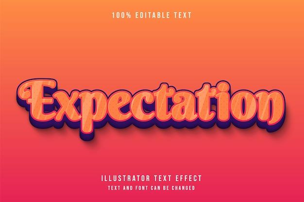Attente, effet de texte modifiable 3d dégradé orange rouge violet style de gaufrage mignon
