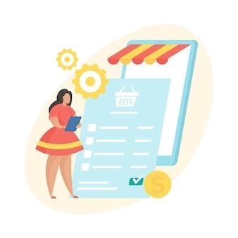 En attente de paiement. illustration vectorielle plane. icône d'état de traitement des commandes d'achat numérique. personnage de dessin animé féminin debout et examinant la facture