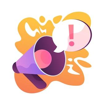Attention attraction. annonce ou avertissement important, partage d'informations, dernières nouvelles. haut-parleur, mégaphone, mégaphone avec point d'exclamation. illustration de métaphore de concept isolé de vecteur
