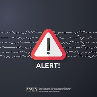 Attention, avertissement attaquant, signe d'alerte avec point d'exclamation. méfiez-vous de la vigilance du symbole de danger internet. icône de ligne de bouclier pour vpn.