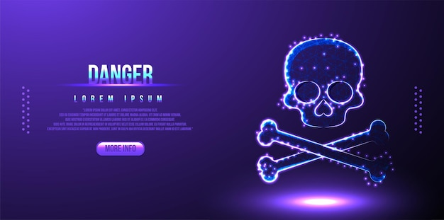 Attention danger crâne os low poly wireframe