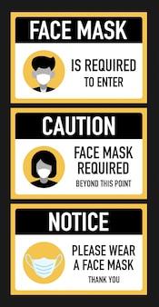 Attention masques faciaux requis au-delà de ce concept de conception de signalisation de point.