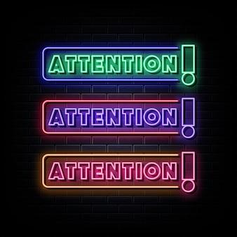 Attention Texte Néon Symbole Néon Vecteur Premium