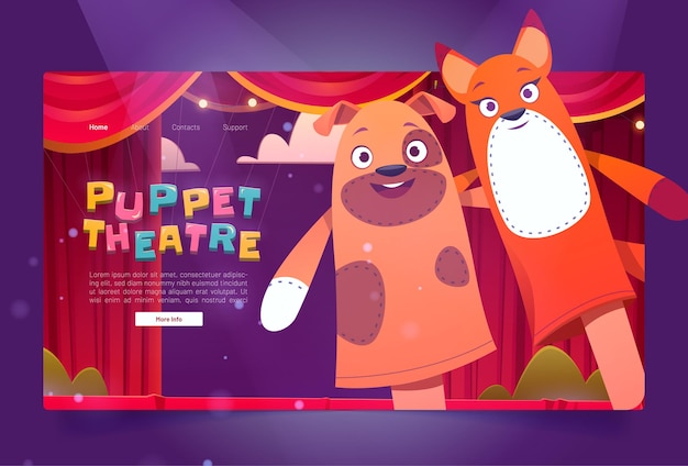 Atterrissage de bande dessinée de théâtre de marionnettes avec des poupées drôles
