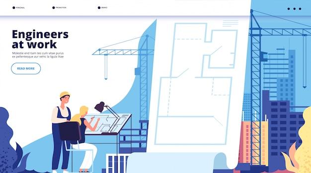Atterrissage de construction de bâtiments. architectes et ouvriers du bâtiment. page web des services d'architecture