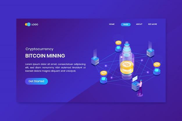 Atterrissage d'investissement isométrique en crypto-monnaie bitcoin