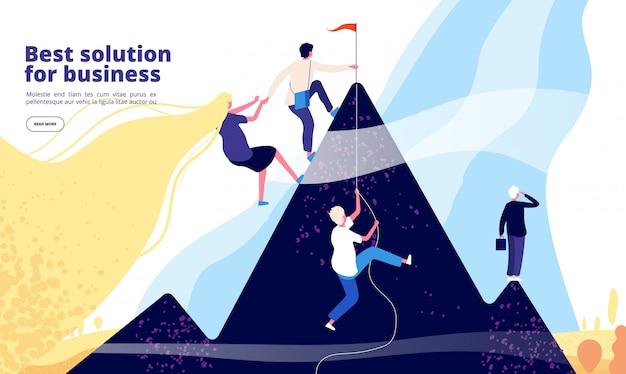 Atterrissage de solutions d'affaires. l'équipe commerciale grimpe sur la montagne.