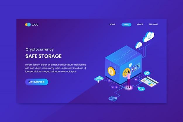 Atterrissage de stockage sécurisé de crypto-monnaie isométrique bitcoin