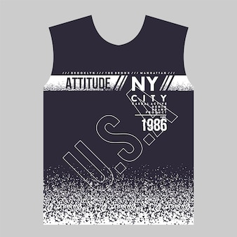 Attitude ny city t shirt print abstract design graphique typographie vector illustration