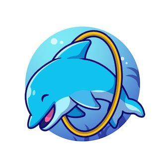 Attractions mignonnes de dauphins dans l'illustration de dessin animé de mer.