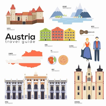 Attractions touristiques et éléments de symboles culturels pour infographie touristique, web.