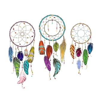 Attrapeur de rêve avec collection de plumes