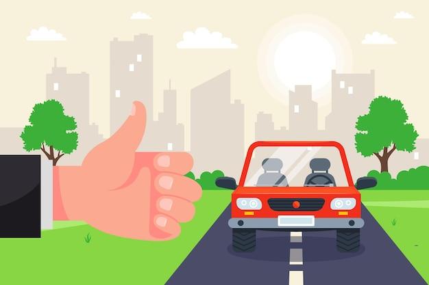 Attrapez une voiture sur la piste d'auto-stop. illustration plate.