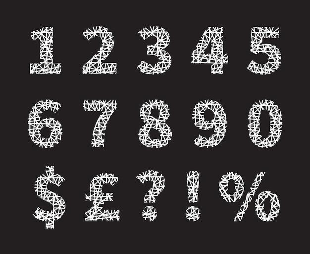 Attrayants numéros de polices croisées en blanc et dessins de symboles et fond gris.