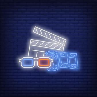 Attributs de cinéma enseigne au néon