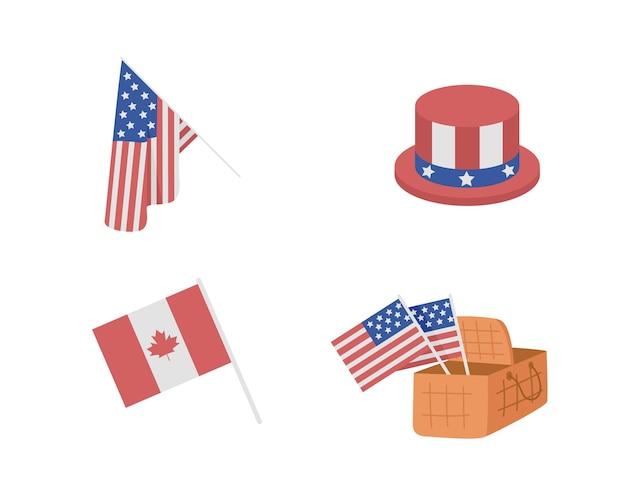 Attributs patriotiques pour l'ensemble d'éléments vectoriels de couleur semi-plate du jour de l'indépendance américaine. objets réalistes sur blanc. illustration de style dessin animé moderne isolé aux états-unis pour la conception graphique et l'animation