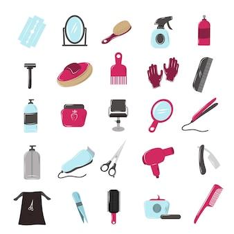 Attributs de salon de coiffure doodle