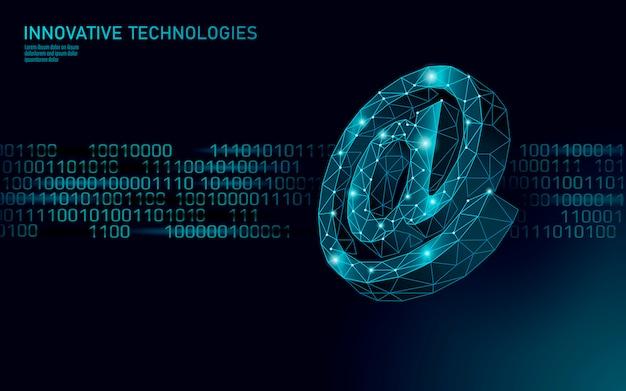 Au courriel, signe de médias sociaux. polygonale 3d low poly à la notification de symbole dans l'appel personnel de messager. illustration de l'agent de messagerie mobile de communication web en ligne