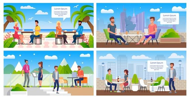Au repos dans le café en plein air plat vector posters set
