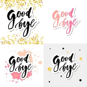 Au revoir lettrage calligraphie phrase bye vector illustration aquarelle définie