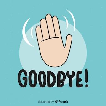 Au revoir, main, lettrage, fond