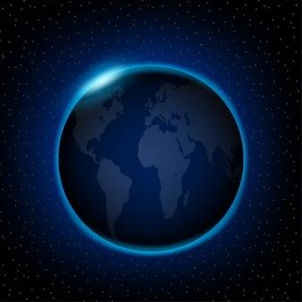 L'aube de l'espace l'aube de l'espace soleil levant derrière la terre