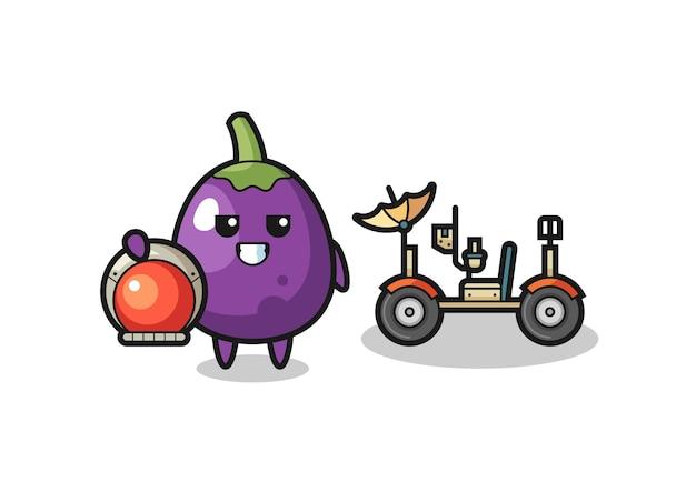 L'aubergine mignonne en tant qu'astronaute avec un personnage d'aubergine mignon rover lunaire tient un vieux télescope