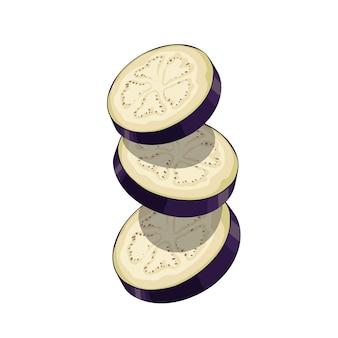 Aubergines fraîches volant des tranches rondes en style cartoon. légumes violets frais. ferme fraîche. illustration sur fond blanc.