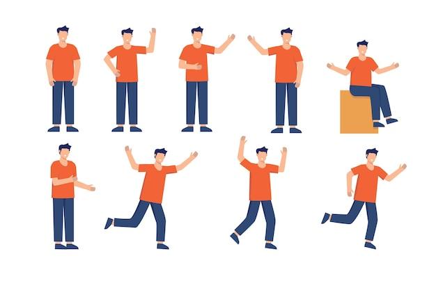 Aucun jeu de caractères de jeune homme de visage. hommes d'affaires debout faisant des gestes. homme d'affaires style plat isolé illustration vectorielle