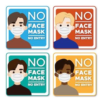 Aucun masque facial aucun signe de caractère d'hommes d'entrée