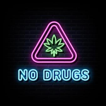 Aucun modèle de conception de vecteur d'enseignes au néon de drogues dans le style néon