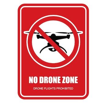 Aucun panneau de restriction de zone de drone - vols en quadcopter interdits