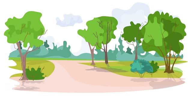 Aucun peuple beau parc d'été paysage fond illustration vecctor