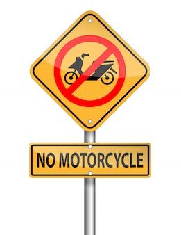 Aucun poteau de signe de moto sur fond blanc