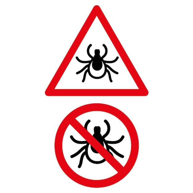 Aucun signe d'avertissement de triangle rond rouge d'icône d'acarien de tique