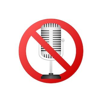 Aucun signe d'enregistrement. aucun signe de microphone sur fond blanc. illustration vectorielle.