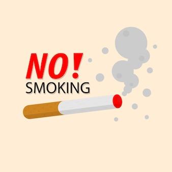Aucun signe de fumer, cigarette, insigne d'icône de risque d'incendie