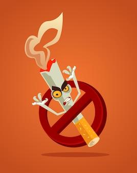 Aucun signe de fumer et mascotte de personnage de monstre de cigarette de mauvais danger en colère dans un cercle rouge restreint tabac fumée habitude dépendance dépendance problème concept illustration de dessin animé plat
