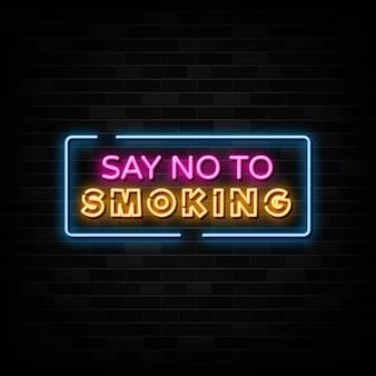 Aucun signe de texte au néon de fumer