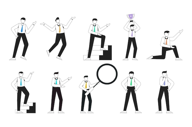 Aucune pose de présentation de personnage de travailleur de jeune homme de visage sertie de geste de la main. hommes d'affaires debout. homme d'affaires avec illustration vectorielle de contour style isolé.