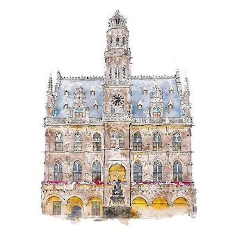 Audenarde belgique aquarelle croquis illustration dessinée à la main