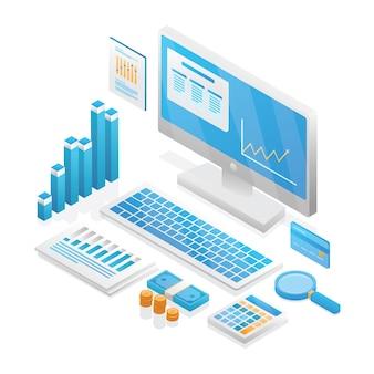 Audit, analyse, comptabilité, icône. fond 3d isométrique